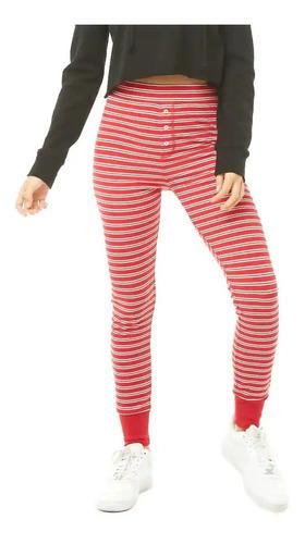 forever 21 pantalon pijama joggers leggins stretch rojo rayas blancas