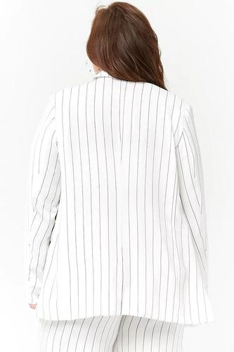 forever 21 plus size blazer saco blanco rayas negras botones frente