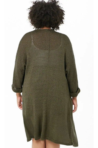 forever 21 plus size cardigan sweater largo tejido verde