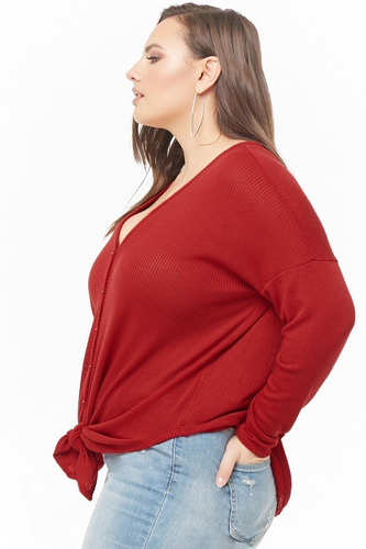 forever 21 plus size sweater tejido cerrado nudo frente rojo