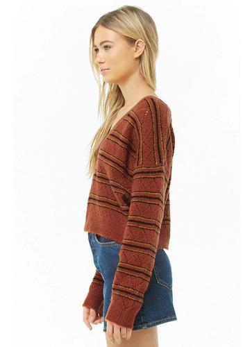 forever 21 sweater corto cuello en v naranja rayas ancho