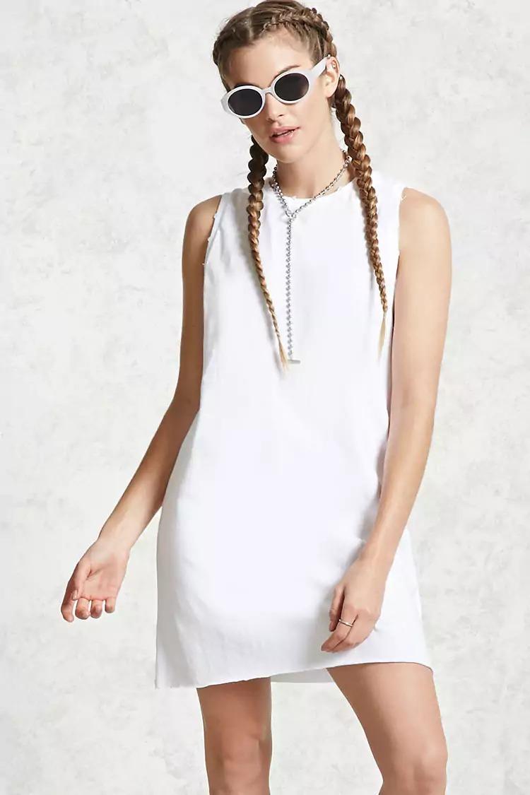 Vestido blanco liso corto