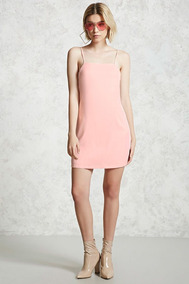 Forever 21 Vestido Corto Liso Rosa Tirantes Franja Blanca S