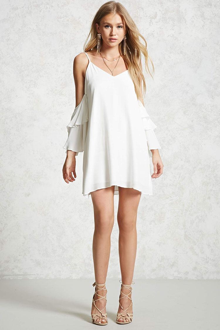 estilo actualizado promoción especial 100% de satisfacción Forever 21 Vestido Holgado Vaporoso Blanco Sin Hombros S-m