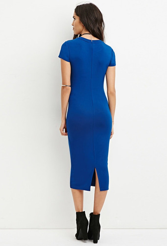 forever 21 vestido midi liso manga corta stretch azul rey