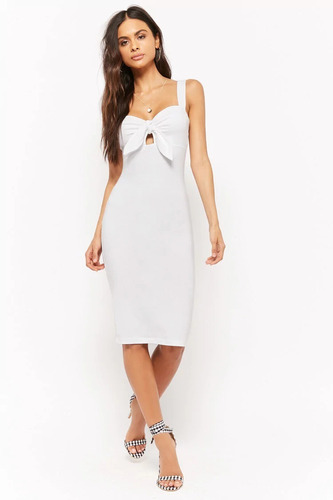 forever 21 vestido midi liso stretch blanco nudo escote