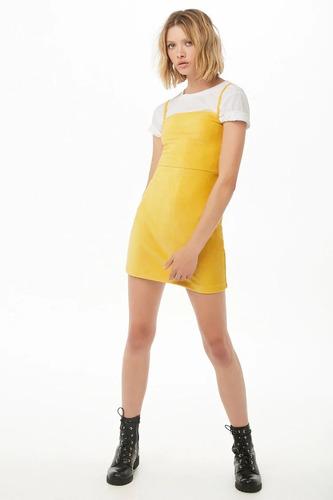 forever 21 vestido rayado tipo pana stretch amarillo med
