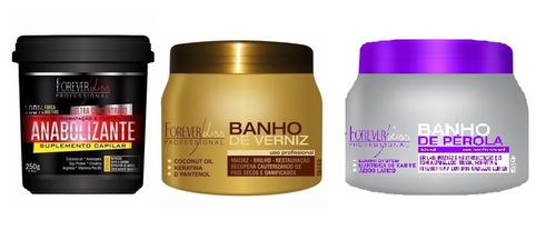 forever liss anabolizante+banho de verniz+banho pérola 250g
