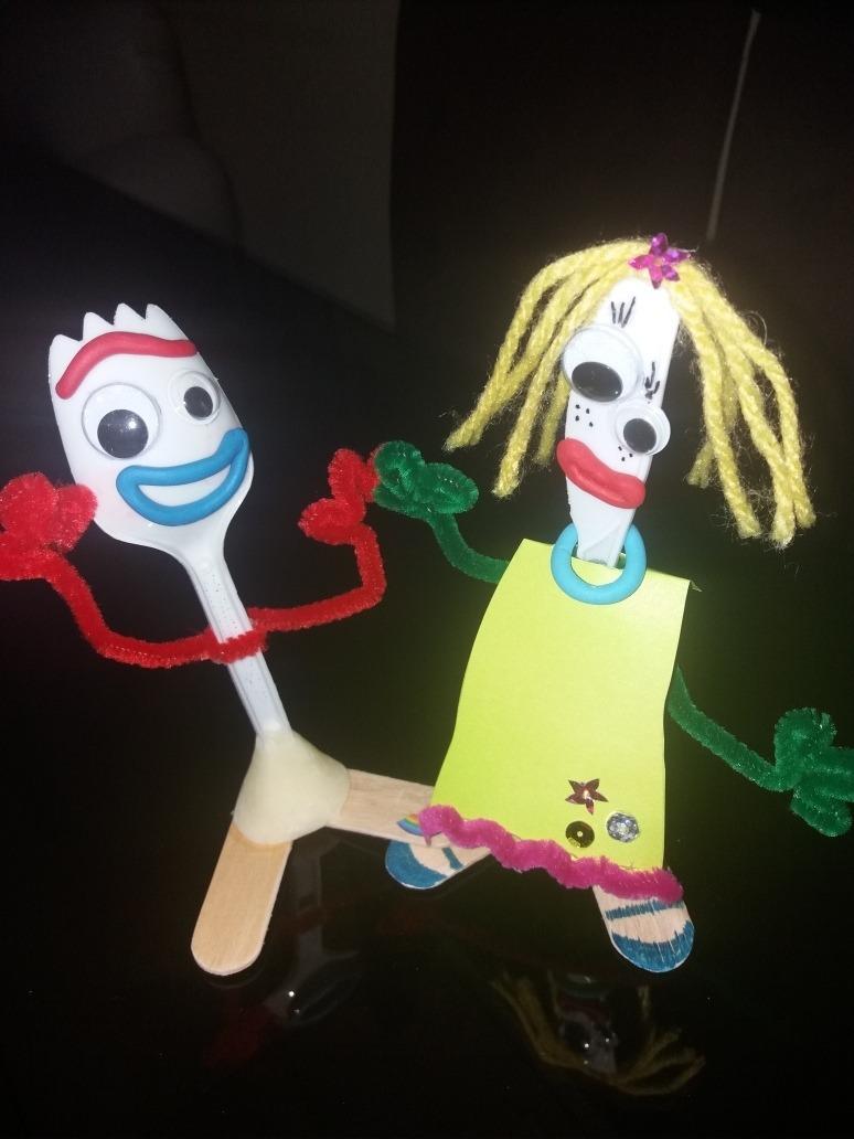 Forky De Toy Story 4 Artesanal Con Dibujo Para Pintar