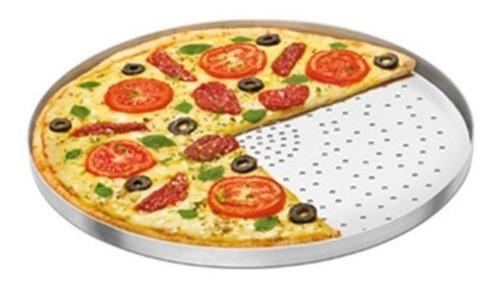 forma assadeira pizza em aluminio com furos 35 cm diametro