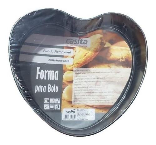 forma de bolo em coração fundo falso antiaderente
