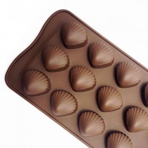 forma de silicone bombons formato concha com 15 cavidades