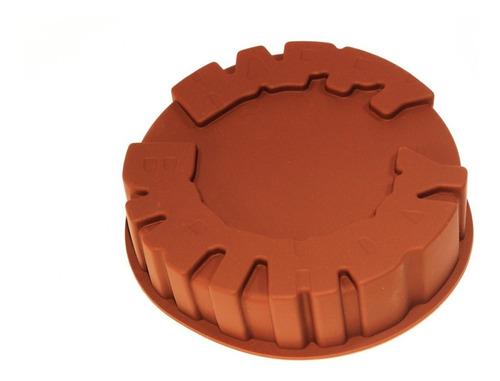 forma de silicone happy birthday bolo marrom ou laranja
