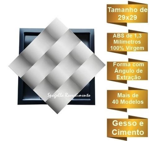 forma gesso 3d cimentício abs 1,3mm tijolinho côncavo 29x29