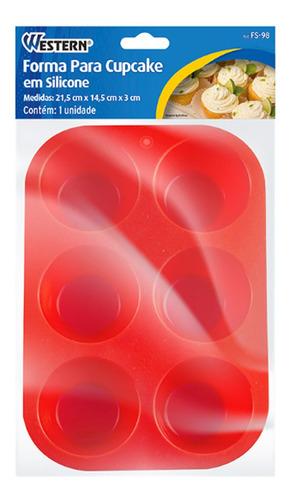 forma para cupcake redondo silicone vermelho 6 furos fs-98