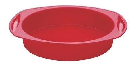 forma redonda para bolo em silicone vermelho - 29 cm - mart