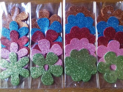 formas de goma eva con glitter, estrella, corazón, paloma...