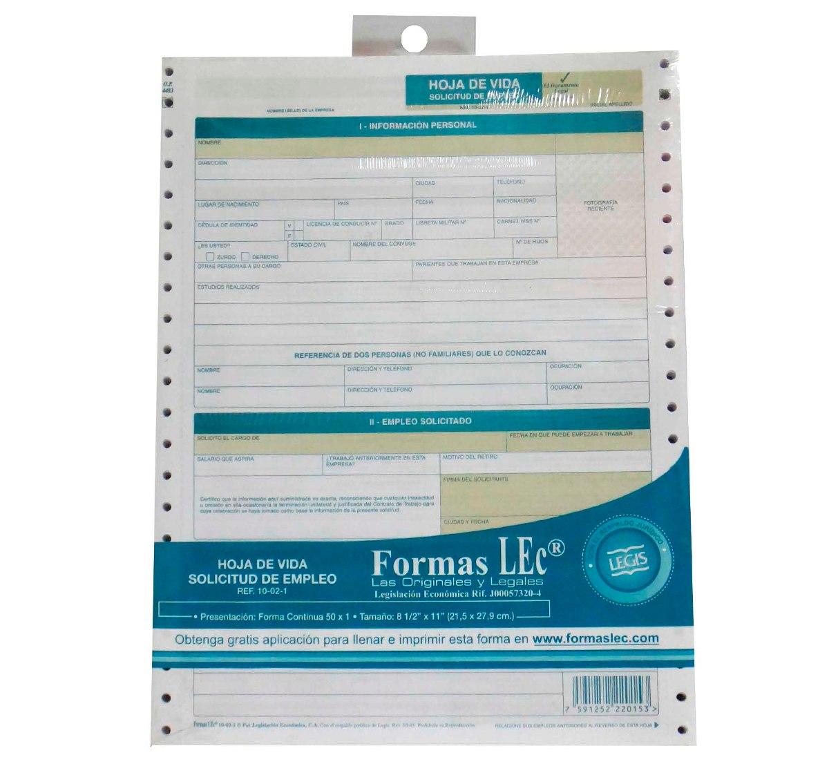 Formas Lec Hoja De Vida Solicitud De Empleo Ref 10-02-1 - Bs. 8.500 ...
