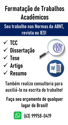 formatação e correção de tcc, dissertação, tese, artigo, etc