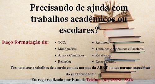 formatação, trabalhos escolares/acadêmicos.