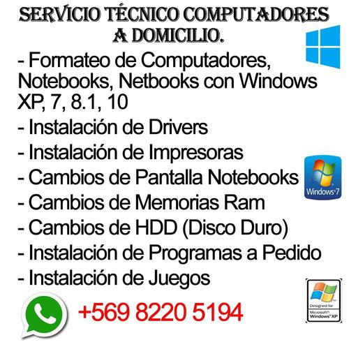 formateo de computadores notebooks a domicilio santiago
