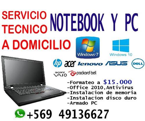 formateo de notebook y computadores a domicilio