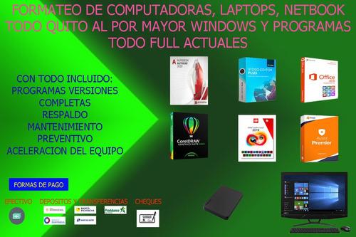 formateo de pc, laptop servicio técnico por mayor domicilio