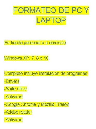 formateo de pc y laptop
