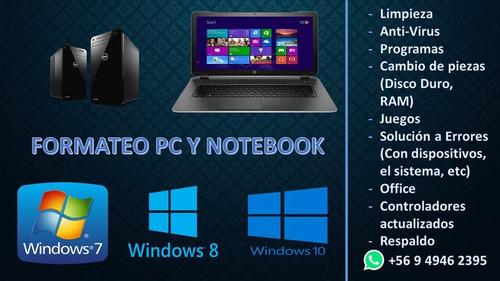 formateo pc y notebook