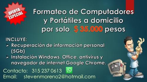 formateo y reparacion de portatiles y computadoes