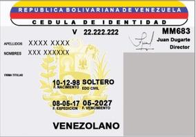 Resultado de imagen para cedula de identidad venezuela