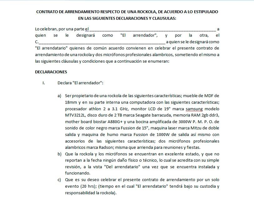 Formato de contrato de arrendamiento de rockola for Arrendamiento de bienes muebles ejemplos