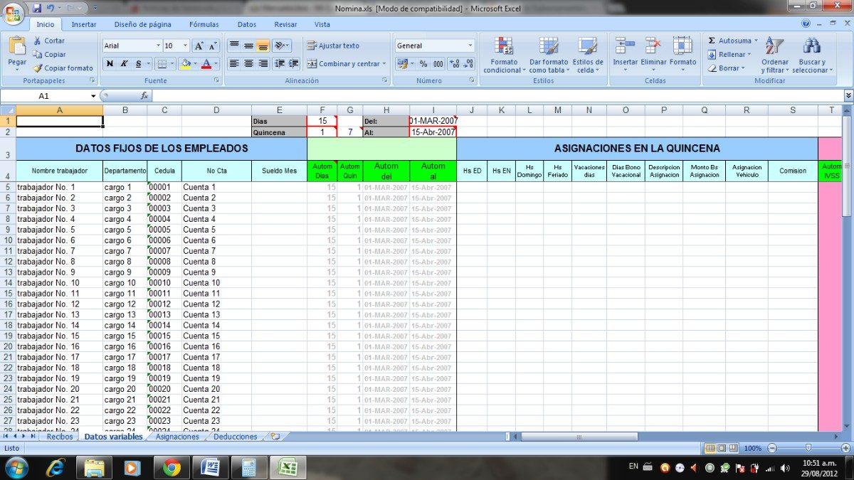 Formato De Nomina Con Macros En Excel Bs En