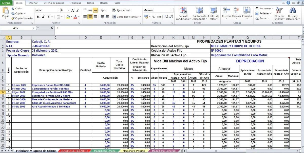 Formato En Excel De Calculo De Depreciacion Activos Bs