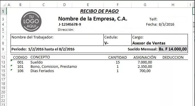 Formato Nomina Control Recibo De Pago Lottt Excel Bs
