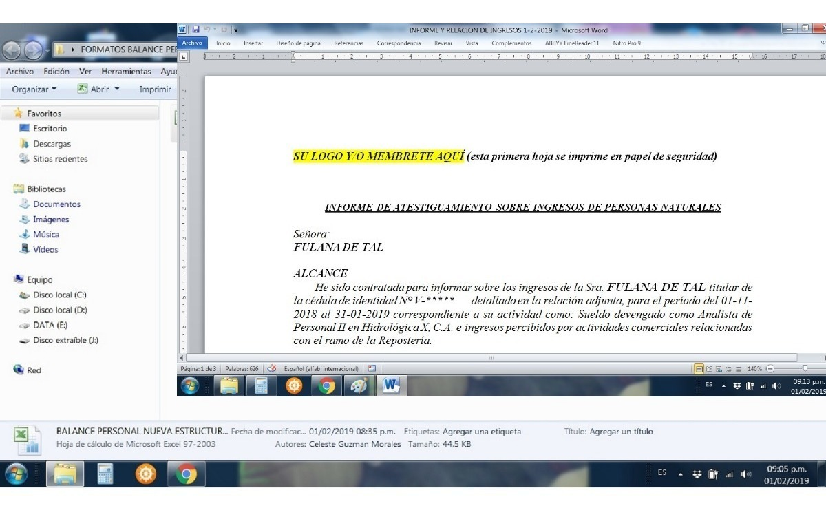 Formatos Certificación Ingresos Balance Personal Excel Word