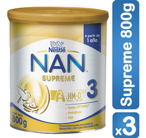 fórmula infantil nan® supreme 3 800g x3 tarros