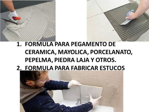 formula para fabricar pegamento de cerámica y porcelanato