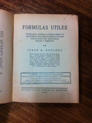 formulas utiles - jorge a. duclout - año 1943