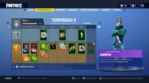 fornite pase de batalla temporada 6 +25 niveles pc ps4 xbox