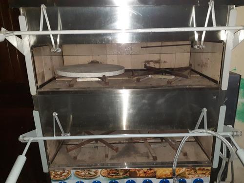 forno de pizza com pedra refratária giratória 2 andares