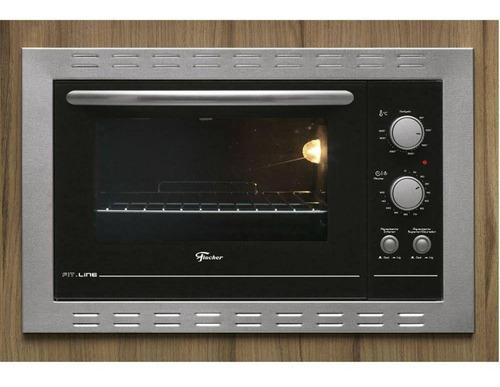 forno elétrico de embutir fischer 44 litros fit line com timer inox/preto