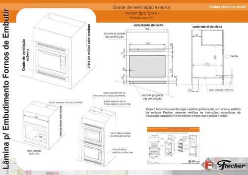 forno elétrico fischer fit line de embutir 44l inox 220v