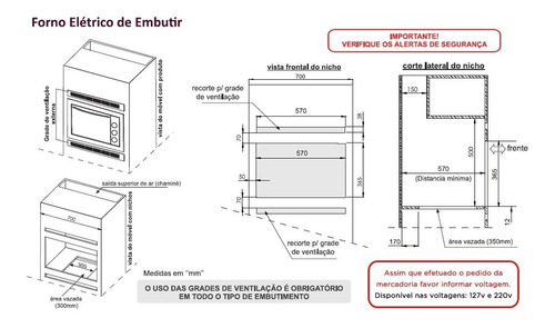 forno embutir inox profissional safanelli 45l - frete grátis