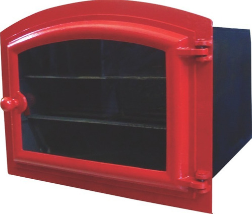 forno ferro fundido porta de vidro vermelho 48x35x30cm p