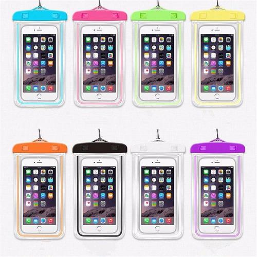 forro bolsa sumergible impermeable fluorescente para celular
