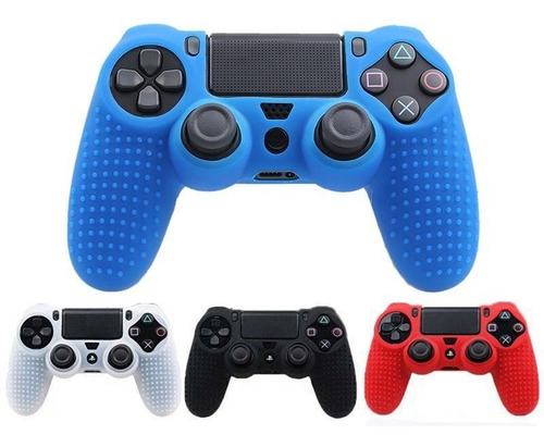 forro control ps4 silicone + joystick + sticker led combo