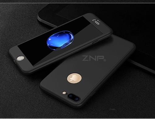 forro estuche protector lujo 360 iphone 8, 8 plus + vidrio