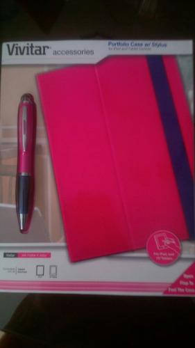 forro ipad portafolio protector + boligrafo tactil rosado