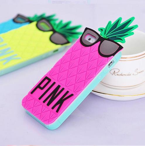 forro piña pink iphone 4, 5 y 6 silicone 3d nuevos